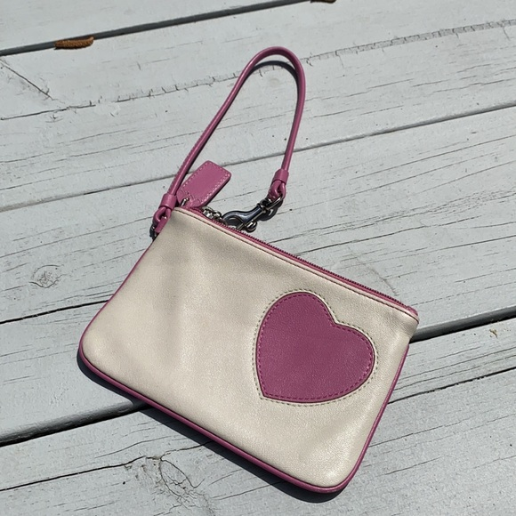 COACH Pink & Cream Heart Wristlet